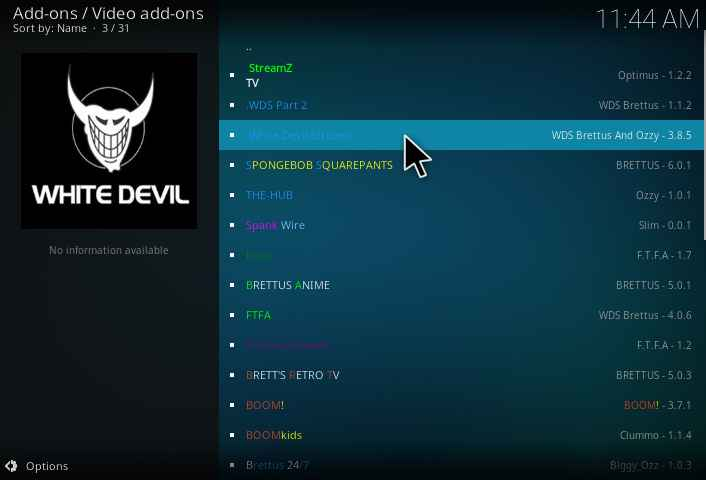 White Devil Streams Kodi Addon installation guide